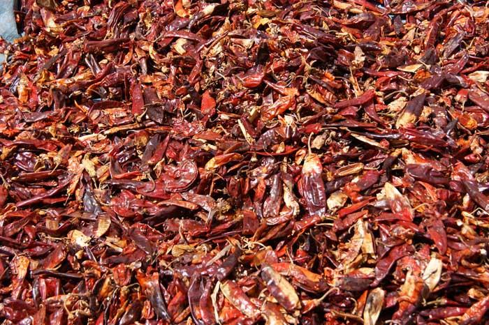 Spaanse pepers, markt, Ahmar Gebergte, Ethiopië