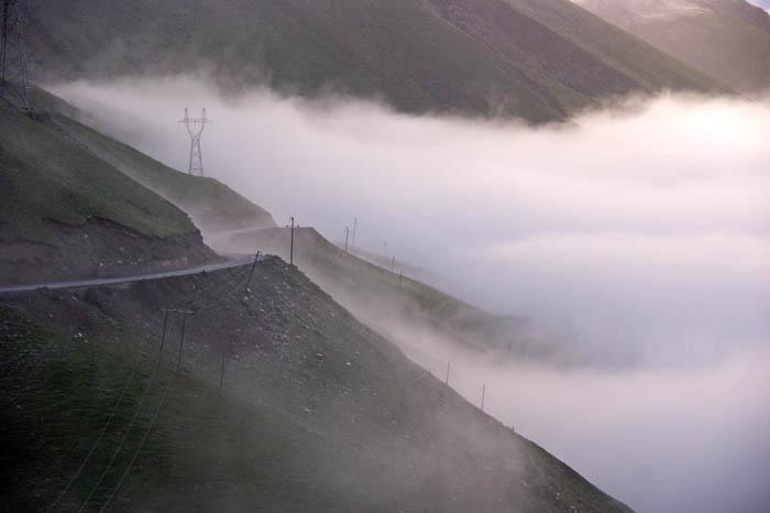 gebergte, pas, wolken, Balang Shan, China