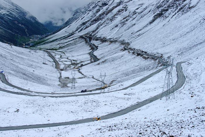 Balang Shan Pas, gebergte, sneeuw, Rilong, China