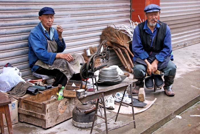 rokende mannen, bezemvlechters, Ja an, China