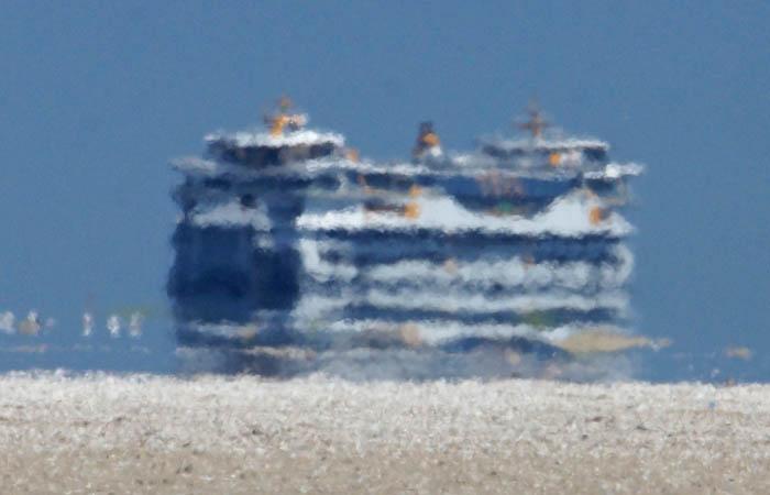 Veerboot Texelstrrom, Marsdiep, de Hors, Texel, Luchttrilling, waddengebied