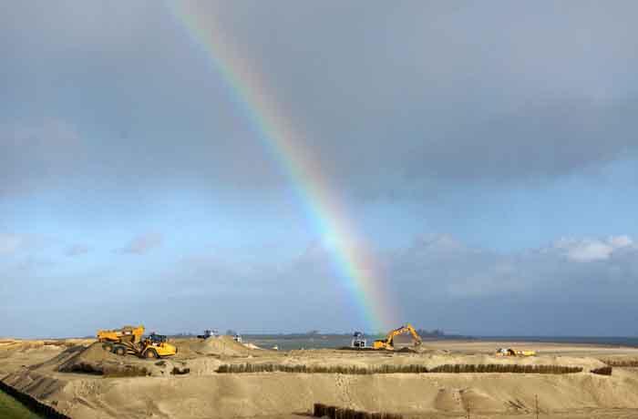 Texel kustverdediging zanddijk Prins Hendrikpolder regenboog werkzaamheden