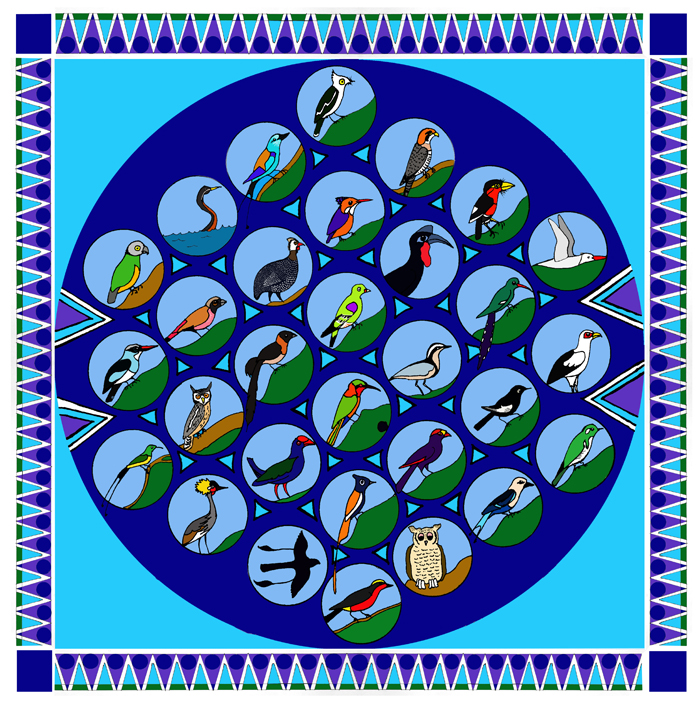 Gambia Afrikaanse vogels tekening